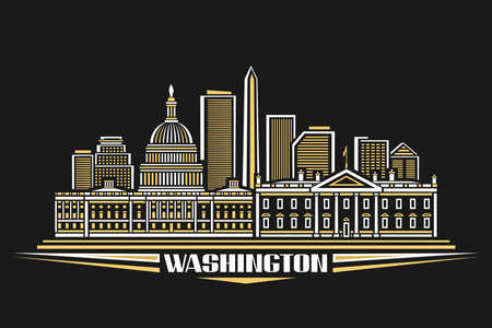 Vector illustration of Washington, horizontal poster with outline design illuminated washington city scape, urban line art concept with decorative font for word washington on dark evening background.