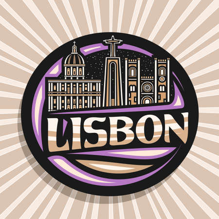 Vector logo for Lisbon, dark decorative sign with outline illustration of famous european lisbon city scape on dusk sky background, art design fridge magnet with unique brush lettering for word lisbon