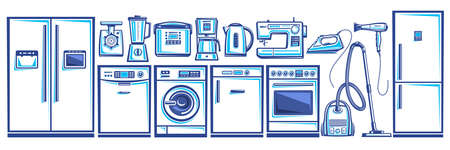 Vector set of Home Appliances, lot collection of cut out outline illustrations household and kitchen appliance for shop sale, white horizontal banner with modern house hold appliances and blue devices