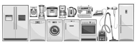 Vector set of Home Appliances, lot collection of cut out illustrations household and kitchen appliance for shop showroom display, many various black and white house hold appliances and gray gadgets.