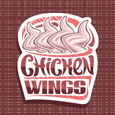 Chicken Wings, white decorative sign board with illustration of raw chicken, art design placard with unique brush lettering for words chicken wings on pale red abstract background. 向量圖像
