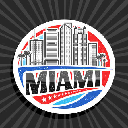 Miami, white decorative tag with outline illustration of american miami city scape on day time sky background, art design fridge magnet with unique brush lettering for black text miami