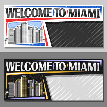 Vector layouts for Miami with copy space, decorative voucher with outline illustration of miami city scape on day and nighttime sky background, art design tourist coupon with words welcome to miami.