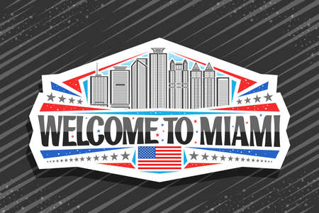 Miami, white decorative tag with outline illustration of miami city scape on day sky background, art design tourist fridge magnet with unique lettering for black words welcome to miami