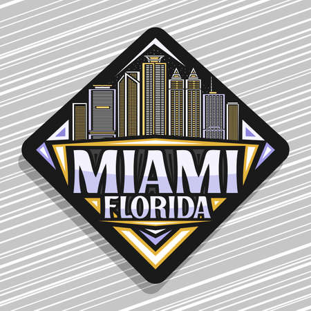 Miami, black rhombus road sign with outline illustration of famous miami city scape on dusk sky background, decorative fridge magnet with unique lettering for words miami, florida.