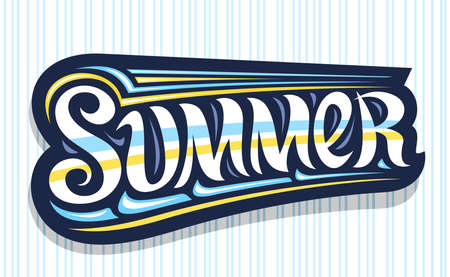 Summer, dark decorative badge with curly calligraphic font, illustration of art design sea waves, summer time concept with swirly hand written yellow word summer on blue background. 向量圖像