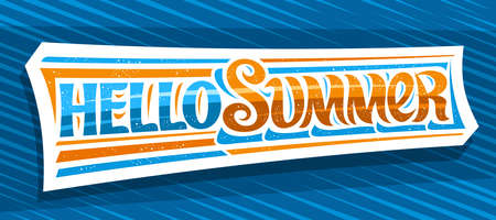 Vector banner Hello Summer, greeting card with curly calligraphic font, illustration of decorative art design waves, summer time concept with swirly hand written words hello summer on blue background. 向量圖像
