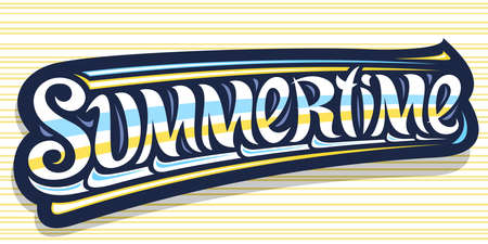 Vector banner for Summertime, greeting card with curly calligraphic font, illustration of decorative art design waves, summer time concept with swirly hand written word summertime on yellow background 向量圖像