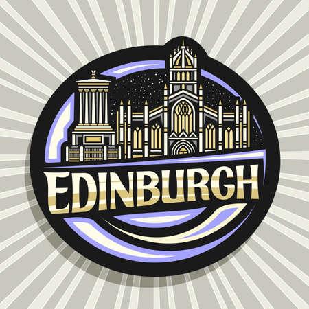 Vector logo for Edinburgh, black decorative label with outline illustration of edinburgh city scape on dusk sky background, art design fridge magnet with unique brush lettering for text edinburgh.