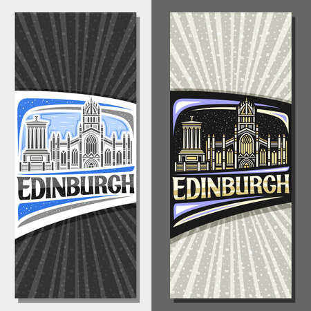 Vector layouts for Edinburgh, decorative leaflet with outline illustration of famous edinburgh city scape on day and dusk sky background, art design tourist card with unique letters for word edinburgh