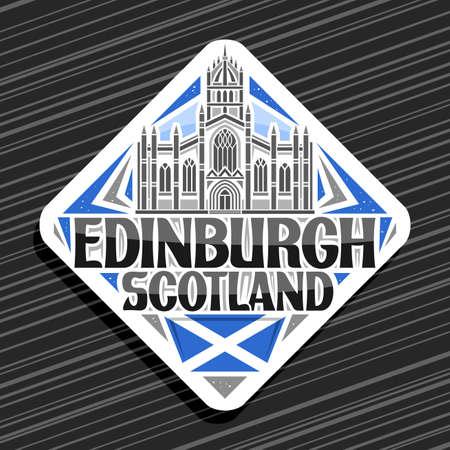 Vector logo for Edinburgh, white rhombus road sign with illustration of edinburgh city scape on day sky background, decorative fridge magnet with unique lettering for black words edinburgh, scotland. 向量圖像