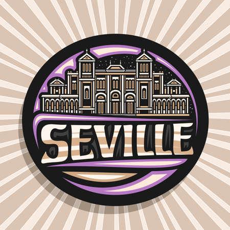 Vector for Seville, black decorative badge with line illustration of European seville city scape on dusk sky background, art design fridge magnet with unique brush lettering for word seville. 向量圖像