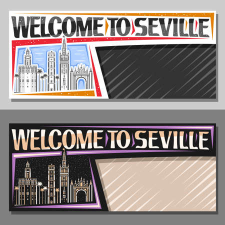 Vector templates for Seville with copy space, decorative voucher with illustration of seville city scape on day and night time sky background, art design tourist coupon with words welcome to seville.