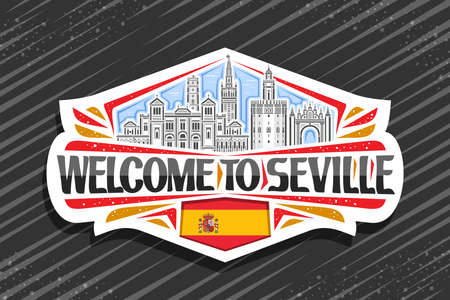 Vector for Seville, white decorative sign with illustration of seville city scape on day sky background, art design fridge magnet with unique brush lettering for black words welcome to seville. 向量圖像