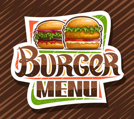 Vector for Burger Menu, decorative cut paper sign board with illustration of burgers with fried steak and vegetables in sesame bun, square poster with unique brush lettering for words burger menu
