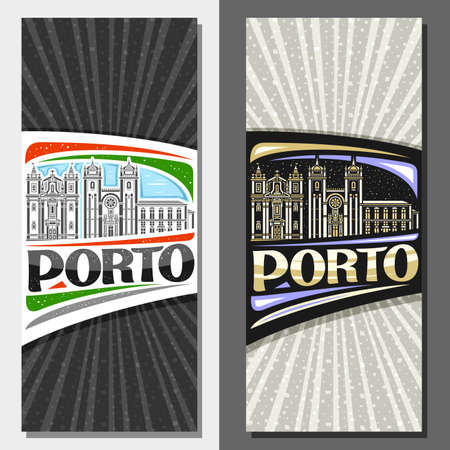 Vector vertical templates for Porto, decorative invitations with outline illustration of porto city scape on day and dusk sky background, art design tourist leaflet with unique letters for word porto.