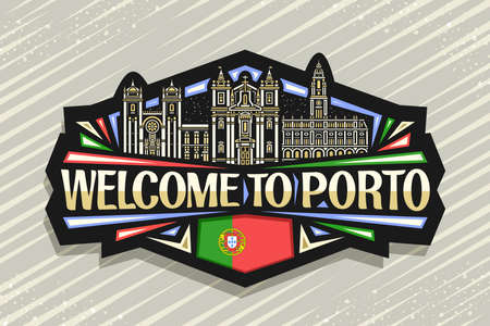 Vector for Porto, black decorative badge with illustration of illuminated porto city scape on dusk sky background, art design fridge magnet with unique brush lettering for words welcome to porto.