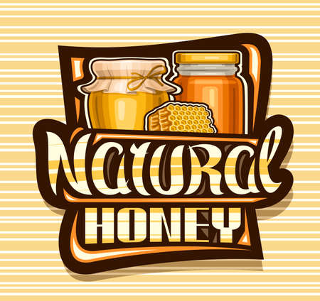 Vector   for Natural Honey, black decorative sign board with illustration of rustic pot, glass jar and piece of honeycomb, poster with unique lettering for words natural honey on striped background 일러스트