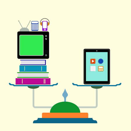 ungleichgewicht: Waage mit Computer-Tablette, B�cher, TV, Rechner. Flache Bauweise