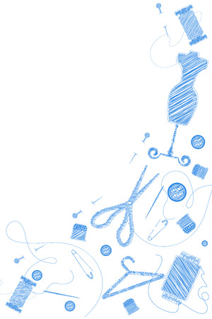 sewing supplies: Sewing Supplies seamless scribble background
