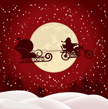 Illustration of Santa on a motorcycle on background of the full moon Banco de Imagens - 35791607
