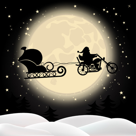 Illustration of Santa on a motorcycle on background of the full moon