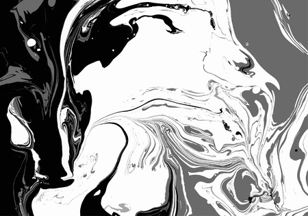 Abstract background. Ink. Paint. Marble style. Black and white liquid in water.