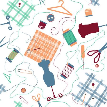 Sewing seamless flat pattern Ilustração