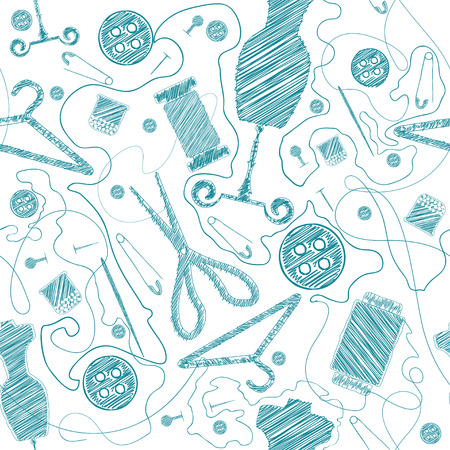 sewing supplies: Sewing Supplies seamless scribble pattern
