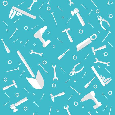 Seamless pattern of construction tools. Flat design Ilustração