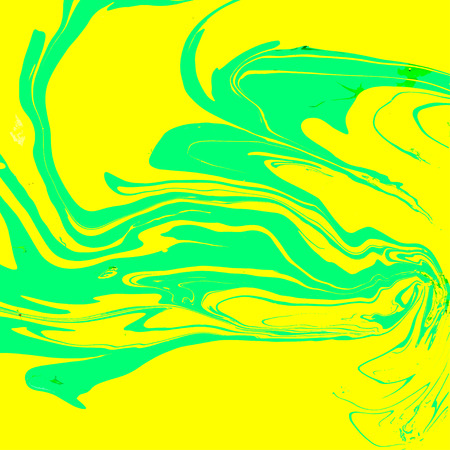 Abstract background. Ink. Paint. Marble style. Green and yellow liquid in water.