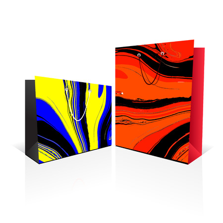 paper bags: Paper bags with marble background