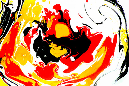 Abstract ink background. Marble style. Black red yellow black ink in water Ilustração