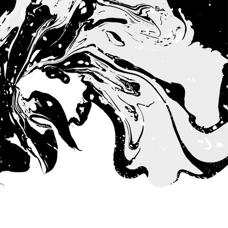 Abstract ink background. Marble style. White black ink in water Ilustração