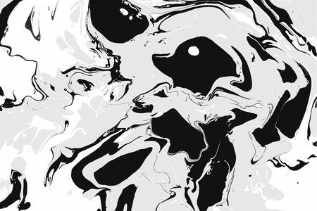 추상 잉크 배경입니다. 대리석 스타일. 물에 흰색 검정 잉크 일러스트