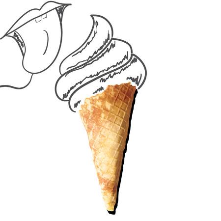 Sketch of ice cream in a waffle cup Ilustração