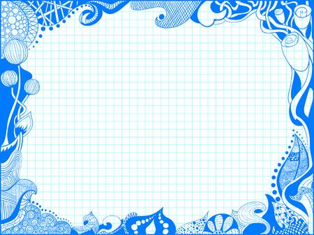Doodle photo frame hand drawn over notebook Ilustração