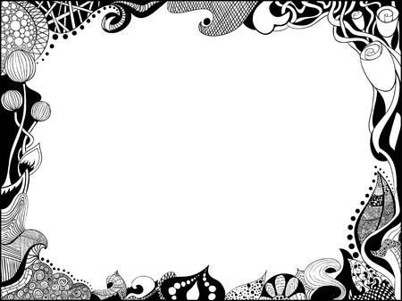 Doodle photo frame hand drawn over white Ilustração