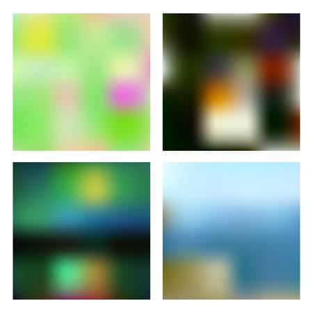 Blurred backgrounds set Ilustração