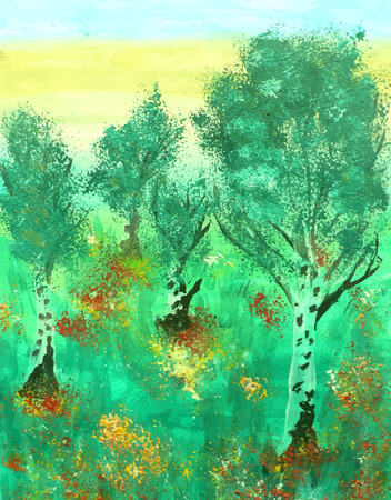 Birch forest painted in watercolor