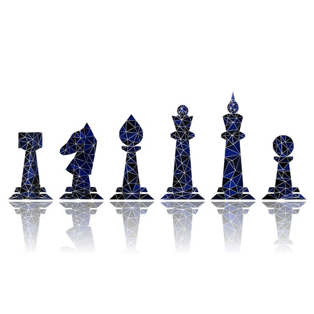 Stained blue chess with reflection on white background Vector