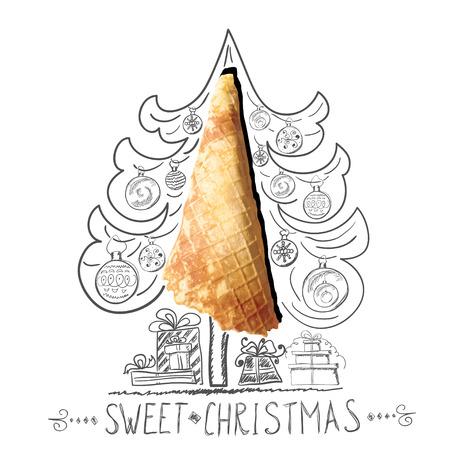 Handdrawn sketch of Christmas tree