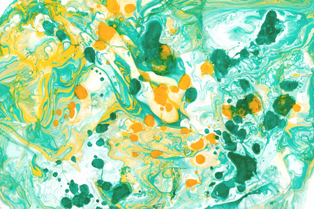 Abstract ink background. Marble style. White green yellow ink in water Illustration