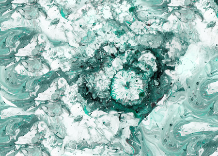 Abstract ink background. Marble style. Blue white ink in water 矢量图像