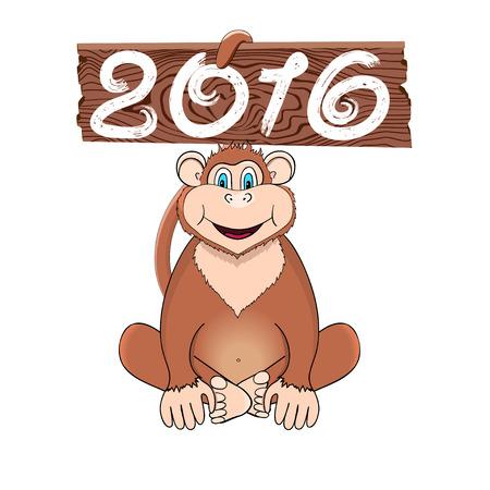 Monkey with banner 2016 Ilustração