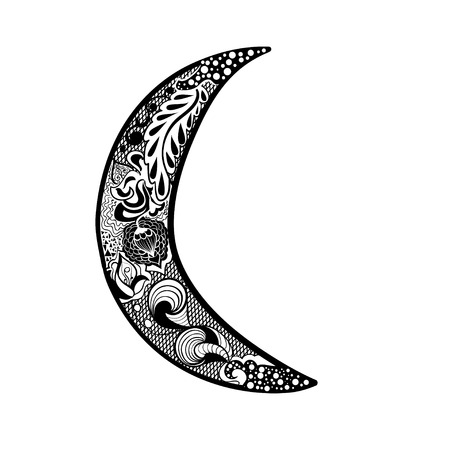 Moon in zentangle or doodle style
