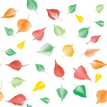 Seamless pattern with autumn leaves watercolor. 矢量图像
