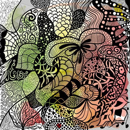 Floral hand drawn zentangle, ethnic, doodle background with watercolor