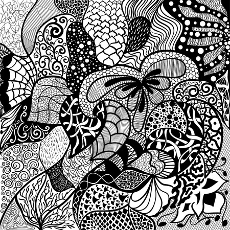 Floral hand drawn zentangle, ethnic, doodle background 矢量图像
