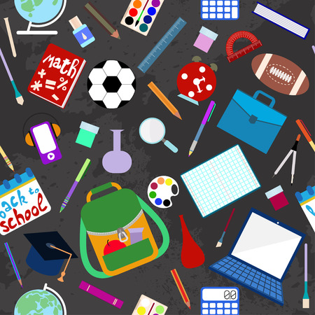 School supplies seamless pattern 矢量图像